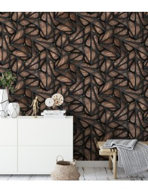 Wooden Wallpaper with black metal  (1)